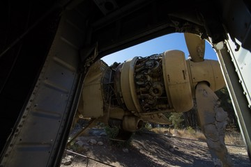 Crushed jet engine