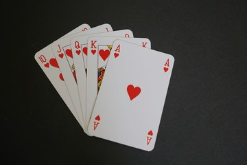 Royal flush of hearts