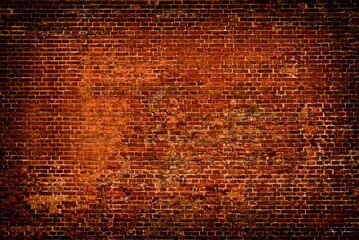 Brick wall of red color background
