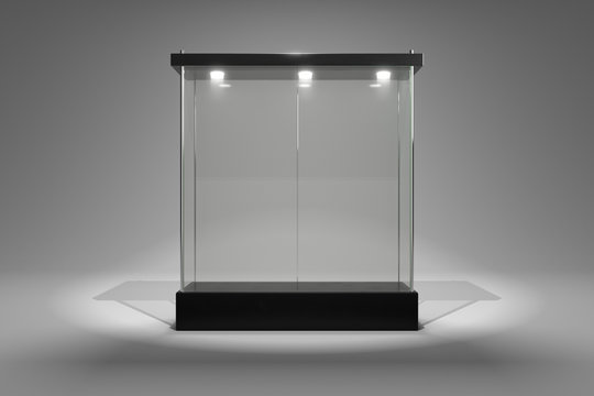 3D rendering glass cabinet front view for product show window close door version