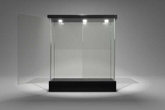3D rendering glass cabinet front view for product show window half close half open door version