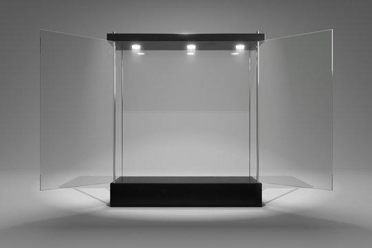 3D rendering glass cabinet front view for product show window open door version