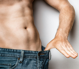 Young Slender Male Is Satisfied With His Body Diet Healthy Food Concept