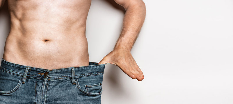 Young Male Lose Weight, Diet Healthy Food Concept