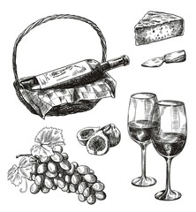 red wine bottle and snacks. set of vector sketches on white