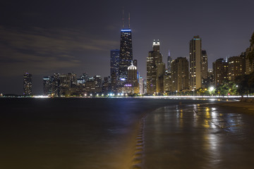 Chicago skyline at night