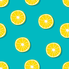 Oranges seamless pattern. Vector illustration.