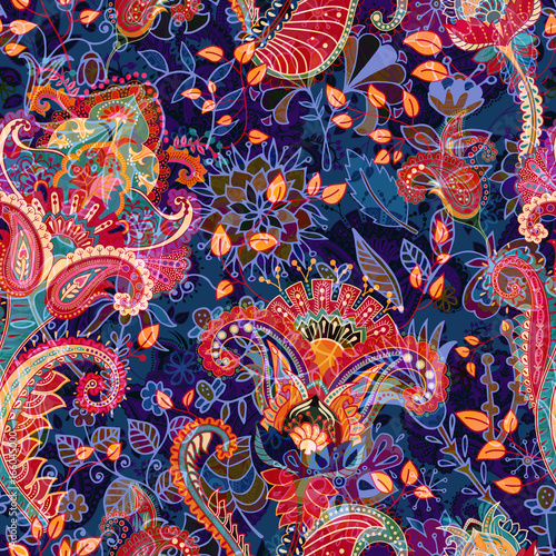 Colorful floral seamless pattern. Paisley ornament