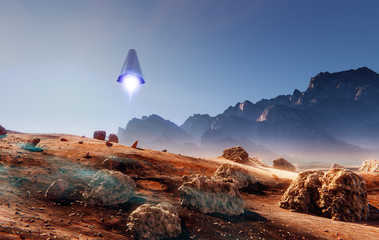 Rocket landing on Mars