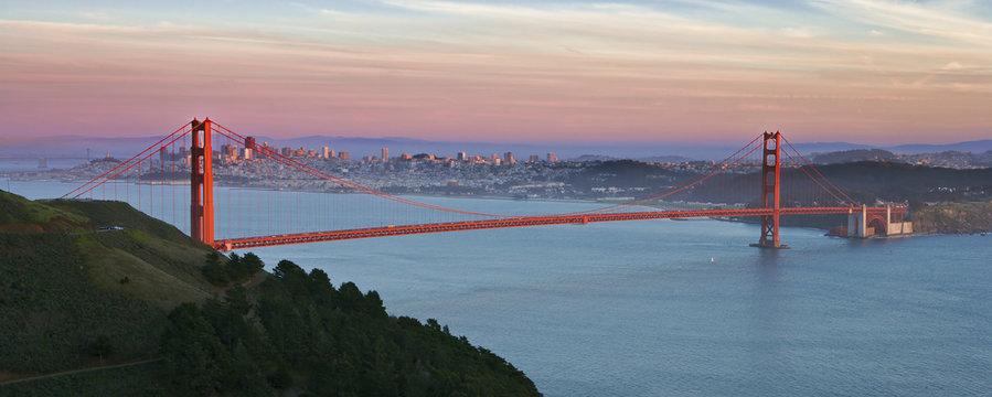 Golden Gate Bridge at Sunset, San Francisco, California