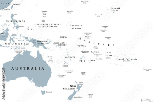 Oceania political map with countries. English labeling. Region ...