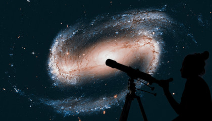 Girl looking at the stars with telescope. Spiral galaxy in the constellation Eridanus NGC 1300