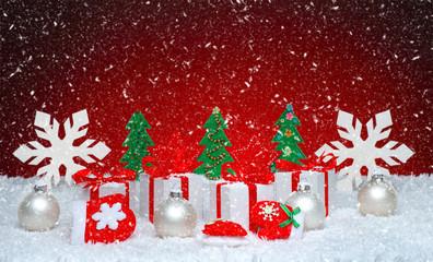 Beautiful celebratory Christmas background. New Year's holidays. Christmas holidays. Beautiful Christmas decorations on the wooden background