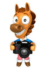 3D Horse character to shoot the Big Camera toward the Front. 3D Animal Character Design Series.