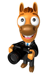 3D Horse character to shoot the Big Camera toward the Left. 3D Animal Character Design Series.