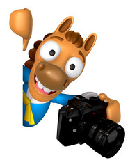 3D Horse mascot hand is holding a Camera and board. 3D Animal Character Design Series.