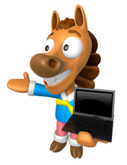 3D Horse Mascot the left hand guides and right hand is holding a laptop. 3D Animal Character Design Series.