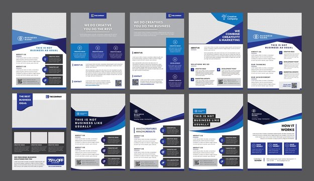 a bundle of 10 templates of a4 flyer template, modern template, in blue color, and modern design, perfect for creative professional business