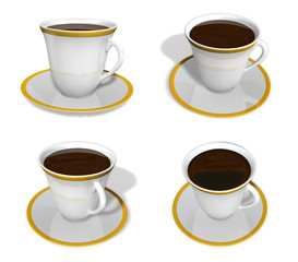 3d cup and coaster range four set