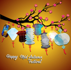 Happy Chinese Mid Autumn Festival or Lantern Festival with polygon style.