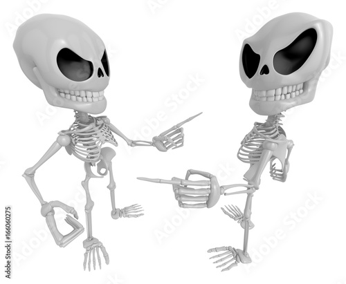 3D Skeleton Mascot shake hands with each other  3D Skull Character