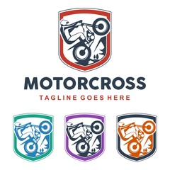 unique motocross illustration logo