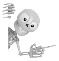 3D Skeleton Mascot the right hand point a finger gesture, left hand is holding a board. 3D Skull Character Design Series.