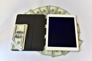 Dollar Bills Circle Stack and A Tablet PC