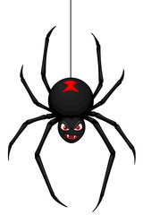Vector illustration of a cartoon black widow spider hanging from a thread of web.