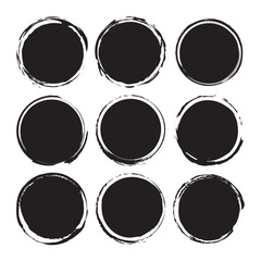 Black round abstract backgrounds smears vector objects isolated on a white background. Grunge shapes. Circle frames