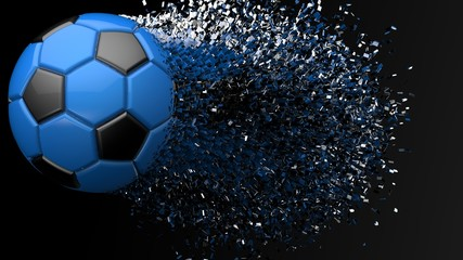 Crashed Soccer Ball. 3D illustration. 3D high quality rendering.