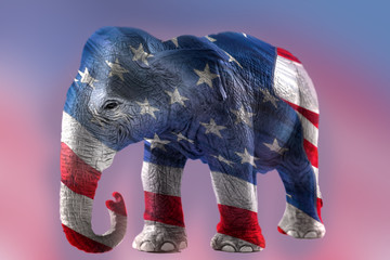 Double exposure image of the Republican elephant and the american flag. In the USA politics the elephant is the symbol of the republicans, the party that represents conservative views