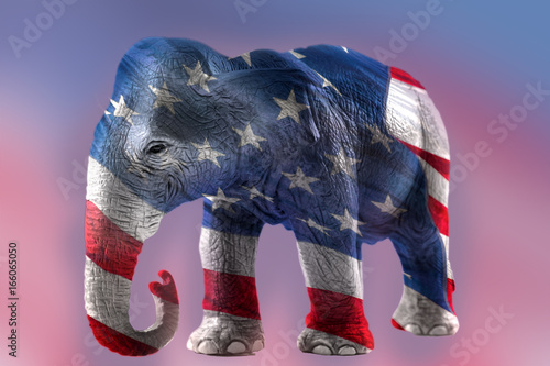 Double Exposure Image Of The Republican Elephant And The American
