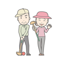 Illustration of an elderly couple playing Ground Golf