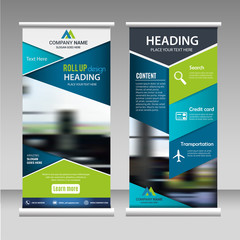 Roll up banner business design on background.Brochure template layout,cover design,annual report,leaflet,presentation background,display,flag-banner,layout in rectangle vinyl with Vector Illustration.
