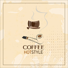 Coffee cup with a smoke pipe over vintage grunge background vector. Retro coffee poster for pub and bar. Outline objects.