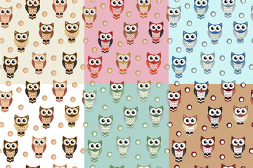 Kids seamless pattern with owls. Owl endless background, texture. Childrens backdrop. Vector illustration