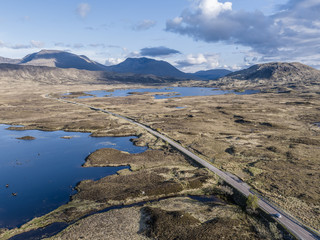Aerial view of the road through the amazing landscape of Rannoch Moor