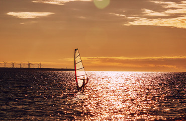 Windsurfing at sunset, outdoor sports