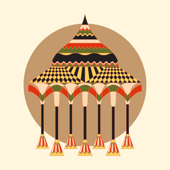 Indian pavillion of ancient, richly decorated with ornaments. Vector object on a round backdrop