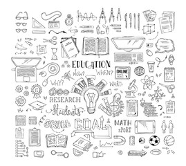 Vector set of doodles education elements and icons.