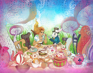 Mad Tea Party. Alice's Adventures in Wonderland illustration. Girl, white rabbit drink from cups under giant mushrooms. Design for Wonderland invitation, postcard, poster, fairy tale