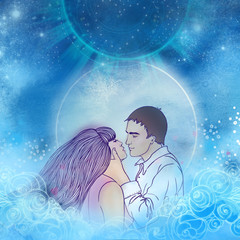 Young beautiful couple kissing in the moonlight. Romantic love, Valentine's day concept. Raster illustration.