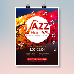 Vector musical flyer Jazz festival. Music concert poster background festival brochure flyer template