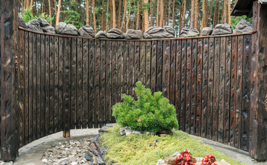 Decorative carved wooden fence texture with pine forest on background, free space