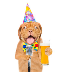 Funny puppy in party hat holding light beer and retro microphone. isolated on white background