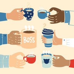Close up of multiethnic business hands holding coffee