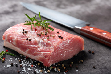 Raw pork loin with spices Wall mural