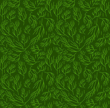 Herbs seamless pattern. Dill endless background, texture. Vegetable backdrop. Vector illustration