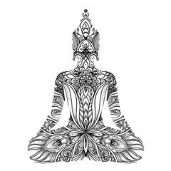 Sitting Buddha silhouette. Vintage decorative vector illustration isolated on white. Mehenidi ornate decorative style. Yoga studio, Indian.